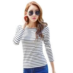 Best Buy Women S Fashion Korean New Stripes T Shirt Ladies Casual Long Sleeved O Neck Tops Bottoming Clothing Intl
