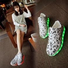 Women S Fashion Led Shoes Flat Luminous Fluorescent Light Board Shoes Korean Usb Charging White Black Intl Wuxiang Cheap On China