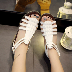 Women S Fashion Sandals With Knitted Design Roman Style White Oem Discount