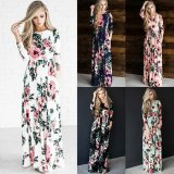 Women S Fashion Summer 3 4 Sleeve Classic Rose O Neck Maxi Dresses White Intl Reviews