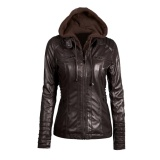 New Women S Faux Leather Hooded Jacket Zippered Hoodie Short Slim Motorcycle Jacket Coat Coffee Intl