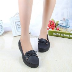 Price Women S Flat Leather Shoes Sweet Casual Shoes Doug Shoes Driving Shoes Nurse Shoes Black Intl Oem China