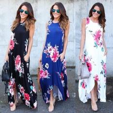 Low Cost Womens Floral Long Maxi Dress Long Sleeve Evening Party Summer Beach Sundress Mx Blue Intl