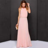 Womens Formal Long Chiffon Prom Evening Party Bridesmaid Wedding Maxi Dresses Pink Intl Free Shipping