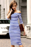 Price Women S Half Sleeve Strapless Stripe Bodycon Stretch Party Pencil Dress S Xl Blue Online China