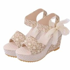 Store Women S Heeled Sandals Summer Shoes Lace Bow Platform Wedge Thick Heels Color Golden Intl Oem On China