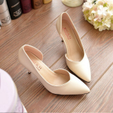 Compare Price Women S High Heels Pointed Toe Ol Stilettos Fashion Leather Lady Shoes White D87 On China