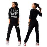Womens Hoodies Sweatshirt Pant Track Suit Black Coupon