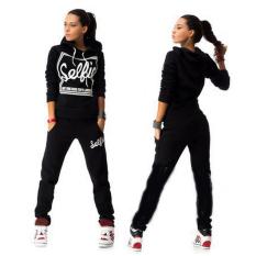 Best Price Womens Hoodies Sweatshirt Pant Track Suit Black