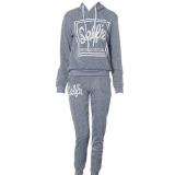 Womens Hoodies Sweatshirt Pant Track Suit Gray Vakind Discount