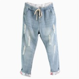 Women S Jeans Plus Size Vintage Drawstring Pants For Daily Wear (Light Blue) Intl Shopping