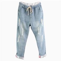 Women S Jeans Plus Size Vintage Drawstring Pants For Daily Wear (Light Blue) Intl Best Price