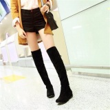 Top Rated Womens Ladies Black Flat Heel Over The Knee Thigh High Suede Boots Intl