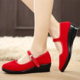 Sale Womens Ladies Mid Wedge Heel Mary Jane Hotel Work Strap Shoes Ballet Cotton Flat Red Intl Not Specified On China