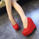 Women S Lady S S*xy Wedding Shoes Very High Heels Wedge Lace Elegant Platform Pumps European Color Red Intl Price