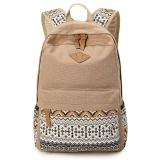 Recent Womens Leisure Style Double Shoulder Zipper Closure Canvas Bag Khaki Intl