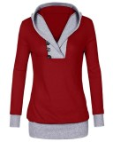 Buy Cheap Womens Long Sleeve Knitted Panel Hooded Casual Sweatshirt Intl