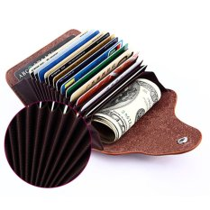 Womens Mens Credit Card Holder Wallet Lady Rfid Leather Zipper Wallet Id Case Brown Intl Discount Code