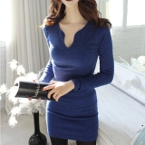 Best Price Women S New Deep V Neck Tight Package Hip Long Sleeve Short Mini Dress Cocktail Party Evening Clubwear Dress