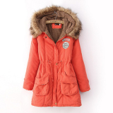 Purchase Womens Parka Casual Outwear Military Hooded Coat Winter Jacket Women Fur Coats Clothes Manteau Femme Plus Size Orange Intl Online