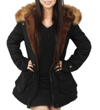 Review Womens Parka Jacket Hooded Winter Coats Faux Fur Coat Outdoor Black Intl Oem On China