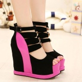 Price Comparisons Of Women S Peep Toe Wedge Sandals European Shoes Red Intl