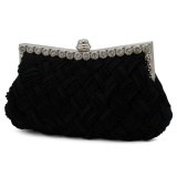 Wholesale Women S Pleated Satin Weave Diamond Dinner Clutch Bag Dinner Party Handbag Black One Size Intl