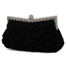 Women's Pleated Satin Weave Diamond Dinner Clutch Bag Dinner Party Handbag Black one size - intl