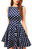 Buy Women S Polka Dot Fit And Flare Sleeveless Cocktail Dress Blue S Cheap China