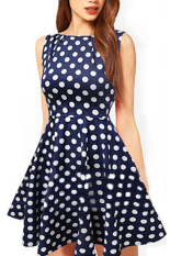 Price Comparisons For Women S Polka Dot Fit And Flare Sleeveless Cocktail Dress Blue S