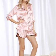 Price Compare Women S Pyjamas Leisure Two Piece Suit Silk Shirt Shorts Home Service Two Suit Pajamas Pink Intl