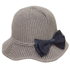 Buy Women S Short Brim Wool Cloche Bucket Hat Bowler Cap With Big Bowknot Intl Oem Cheap