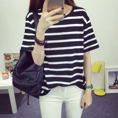 Review Women S Short Stripe Cotton T Shirt Black China