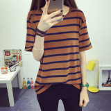Best Price Women S Short Stripe Cotton T Shirt Coffee