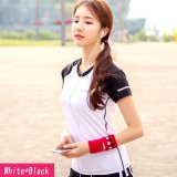Price Comparison For Women S Slim Sport Short Sleeve Round Neck T Shirt Running Yoga Clothing White With Black Intl