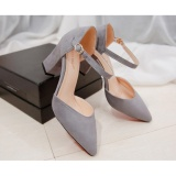 Buy Women S Summer Pure Color Fashion Pointed High Heeled Shoes Block Heels Pointed Toe Suede A Line Straps Formal Leather Lady Shallow Mouth Heel Sandals Grey Intl Hong Kong Sar China