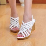 Cheapest Women S Summer Sandals Roman Wedge Heels Peep Toe Weave Casual High Heels Girls Shoes Flatform Color White Intl Online