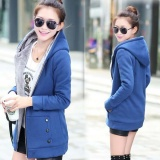 Where To Shop For Women S Warm Cotton Hoodie Fleece Coats Outerwear Jackets Blue Intl