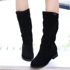 Best Reviews Of Womens Winter Warm Snow Boots Suede Mid Calf Boots Platform Fashion Flat Shoes Black Intl