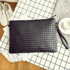Cheaper Korean New Men Clutch Bag Woven Clutch Black Large 906 Black Large 906
