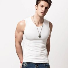 New Xdian Mens Tank Tops Sleeveless V Neck Cotton Slim Fit Bodybuilding Undershirt Stretchy Athletic Casual Sportswear Vest(White) Intl