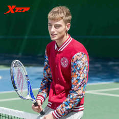 Sale Xtep Brand Men S Fashion College Long Sleeve Sport Jacket Mens Autumn Cotton Slim Fit Casual Baseball Jackets And Coats Red