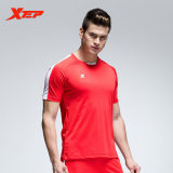 Promo Xtep Men S Breathable Quick Dry Soccer Suits Sweat Absorption Sportwear Training Football Shirt Short Red