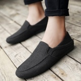 Recent Yikoo Men S Fashion Breathable Linen Canvas Casual Loafers Slip Ons Flat Shoes Black Intl