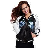 Buy Yilia 2017 New Autumn Women Basic Coats Flower Embroidery Black White Bomber Jacket Coats Intl Online