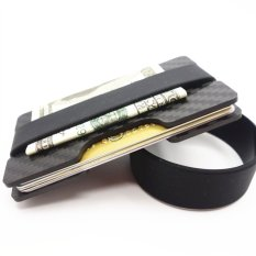Yixiangqing Minimalist Carbon Fiber Slim Wallet Money Clip RFID-Blocking ID Credit Card Holder 2 plate Black - intl