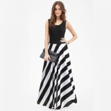 Review Yohanne Women Black Tank Stitching Striped Sleeveless Maxi Summer Long Dresses Black Intl Yohanne On China