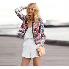 Best Yohanne Women Fashion Floral Print Jacket Fall Short Biker Bomber Jacket Coat Pink Intl