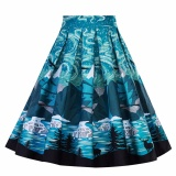 Price Comparisons Yohanne Women Pleated Vintage Skirts Floral Print A Line Dress Blue Intl