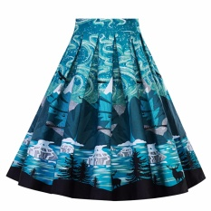 Yohanne Women Pleated Vintage Skirts Floral Print A Line Dress Blue Intl Coupon